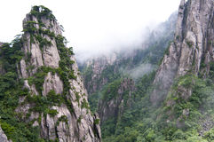 Huangshan,china. The magnificent mountains with trees stock photo