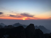 Huangshan Mountain at sunrise Royalty Free Stock Images