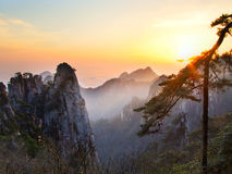 Huangshan mountains china. Huangshan mountains called Yellow mountains as well is in anhui province china Stock Photo