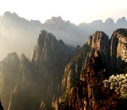 Huangshan scene. Mountain range in huangshan with a sea of cloud Stock Image