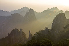Huangshan sunrise Stock Images