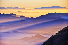 Huangshan(yellow) Mountain sunrise Stock Photo