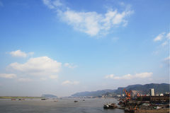 Huangshi city. Blue sky and white clouds,huangshi city, hubei province in china royalty free stock photos