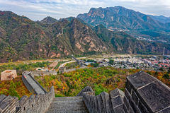 Huangyaguan Great Wall. The Great Wall of China at remote location at Huangyaguan over Huangya Pass, first built during the Northern Qi Dynasty 550 - 557 Royalty Free Stock Photography