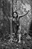 Huaorani Hunter Monochrome Royalty Free Stock Images