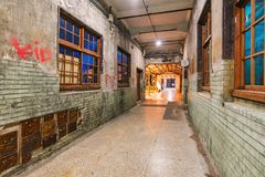 Huashan 1914 creative park in Taipei. TAIPEI, TAIWAN - JULY 11: This is a night view of Huashan 1914 Creative Park old style architecture on July 11, 2017 in Royalty Free Stock Images