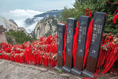 Huashan Mountains Direction SignS Red Ribbons Royalty Free Stock Photos