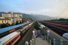 Huashan Railway Station. Only has ordinary trains, while Huashan North Train Station operates bullet trains to cities like Beijing, Xian, Luoyang and Shanghai Royalty Free Stock Image