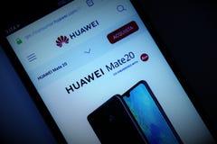 Huawei gatunek na smartphone ekranie obrazy stock