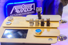 Huawei with Grupo Ayserco launch classical look electronic watch at JoyaMadrid, Madrid Spain. The Huawei watch display on the Ayserco stand. The Chinese royalty free stock images