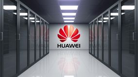 Huawei logo on the wall of the server room. Editorial 3D animation
