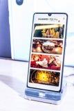 Huawei P30 Pro smartphone, prezentacji P30 Pro z Android przy Huawei pawilonu powystawow? sal? wystawow? cechy, obrazy royalty free
