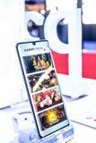 Huawei P30 Pro smartphone, prezentacji P30 Pro z Android przy Huawei pawilonu powystawow? sal? wystawow? cechy, zdjęcia stock