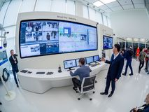 Huawei Russia manager presents demo stand Smart Safe City. MOSCOW, RUSSIA - APRIL 3, 2018: Huawei Russia manager presents demo stand Smart Safe City at event Royalty Free Stock Photos