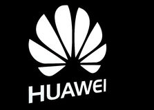 Huawei-Signage in Schwarzweiss Stockbild