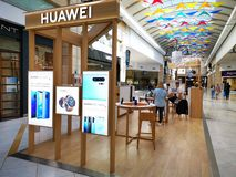 Huawei stand at mall AFI Cotroceni, Bucharest, Romania.  royalty free stock photography