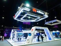 Huawei-Technologien Co , Ltd ist eine chinesische multinationale Vernetzung, Telekommunikationsausrüstung am Firmaausstellungssta lizenzfreie stockfotografie