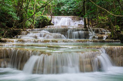 Huay mae kamin beautiful waterfall in Kanchanaburi, Thailand Royalty Free Stock Photos