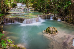 Huay mae kamin large waterfall in Kanchanaburi, Thailand Stock Images