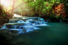 Huay mae kamin water falls in deep forest of kanchanaburi wester Royalty Free Stock Photos