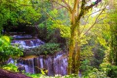 Huay Mae Kamin Waterfal. L is one of the most beautiful waterfalls in Khaoen Sri Nakarin National Park, Kanjanaburi, Thailand Stock Images