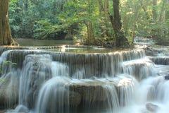 Huay Mae Kamin Waterfall. Beautiful, beauty, blue, brook, cascade, clean, creek, fall, flow, flowing, forest, fresh, green, jungle, lake, landscape, leaves stock photography