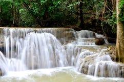 Huay Mae Kamin Waterfall, beautiful waterfall in autumn forest royalty free stock photo