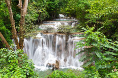 Huay mae Kamin waterfall in deep jungle Royalty Free Stock Photos