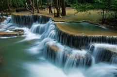 Huay mae kamin waterfall in Sri nakarin dam nation Royalty Free Stock Photography