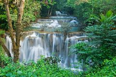 Huay mae kamin waterfall in Sri nakarin dam nation Royalty Free Stock Images