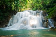 Huay mae kamin waterfall in Sri nakarin dam nation Stock Image