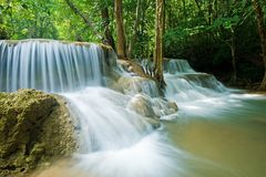 Huay mae kamin waterfall in Sri nakarin dam nation Royalty Free Stock Image