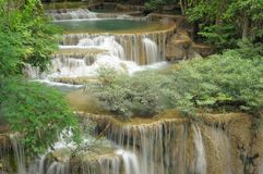 Huay Mae Kamin waterfall in the valley. Royalty Free Stock Photos