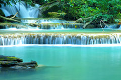 Huay Mae Khamin, Paradise Waterfall located in deep forest of Th Royalty Free Stock Images
