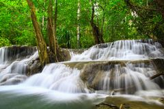Huay Mae khamin waterfall a beautiful haven of the middle Stock Photos