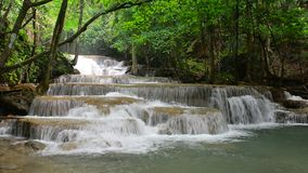 Huay Mae Khamin waterfall, famous natural tourist attraction in Kanchanaburi province ,Thailand. stock footage