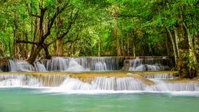 Huay Mae Khamin waterfall, famous natural tourist attraction in Kanchanaburi province Thailand. stock video