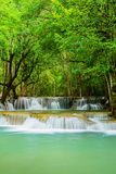 Huay Mae Khamin waterfall, famous natural tourist attraction in Royalty Free Stock Image