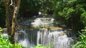 Huay mae khamin waterfall in kanchanaburi thailand stock video footage