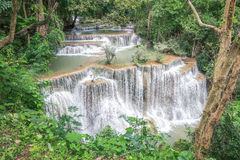 Huay Mae khamin waterfall in National Park Srinakarin, Kanchanab Royalty Free Stock Photos