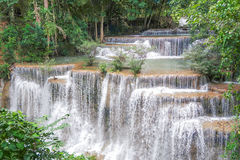 Huay Mae khamin waterfall in National Park Srinakarin, Kanchanab Stock Images