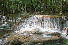 Huay Mae khamin waterfall in National Park Srinakarin, Kanchanab Stock Photo