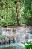 Huay Mae khamin waterfall in National Park Srinakarin, Kanchanab Stock Photos