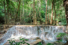 Huay Mae khamin waterfall in National Park Srinakarin, Kanchanab Stock Image