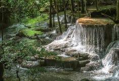 Huay Mae khamin waterfall in National Park Srinakarin, Kanchanab Stock Images