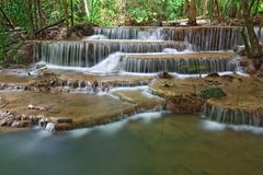 Huay Mae Khamin Waterfall Sixth Level Royalty Free Stock Photography