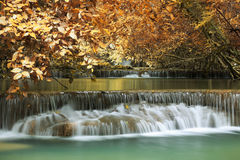 Huay mae khamin waterfall in thailand. Autumn season Royalty Free Stock Photo