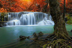 Huay mae khamin waterfall in thailand. On autumn season Stock Image