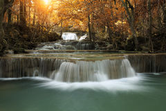 Huay mae khamin waterfall in thailand on autumn season. Beauty huay mae khamin waterfall in thailand on autumn season Stock Photography