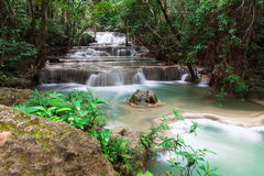 Huay Mae Khamin waterfall in tropical forest, Royalty Free Stock Photo